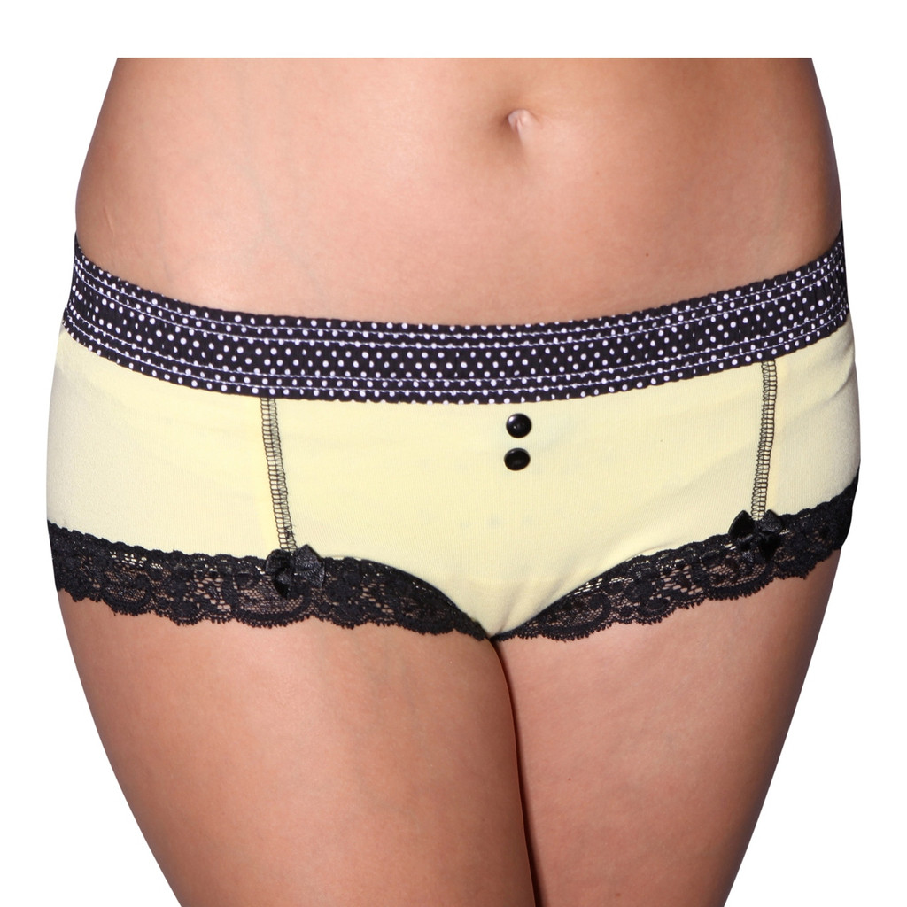 Black Dot / Yellow Boyshort
