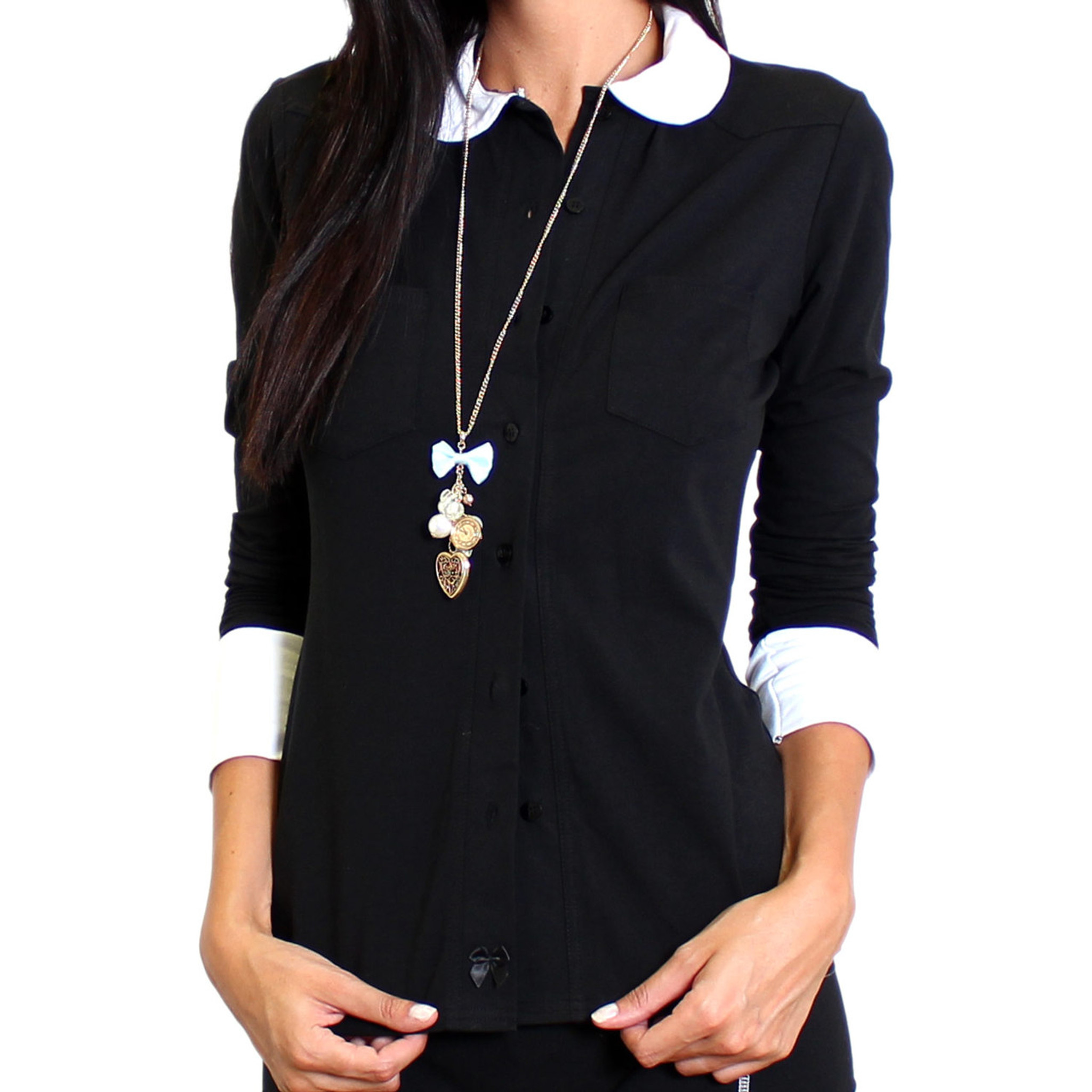 Black t shirt white collar - Womens Black Button Down Blouse With White Peter Pan Collar And Cuffs