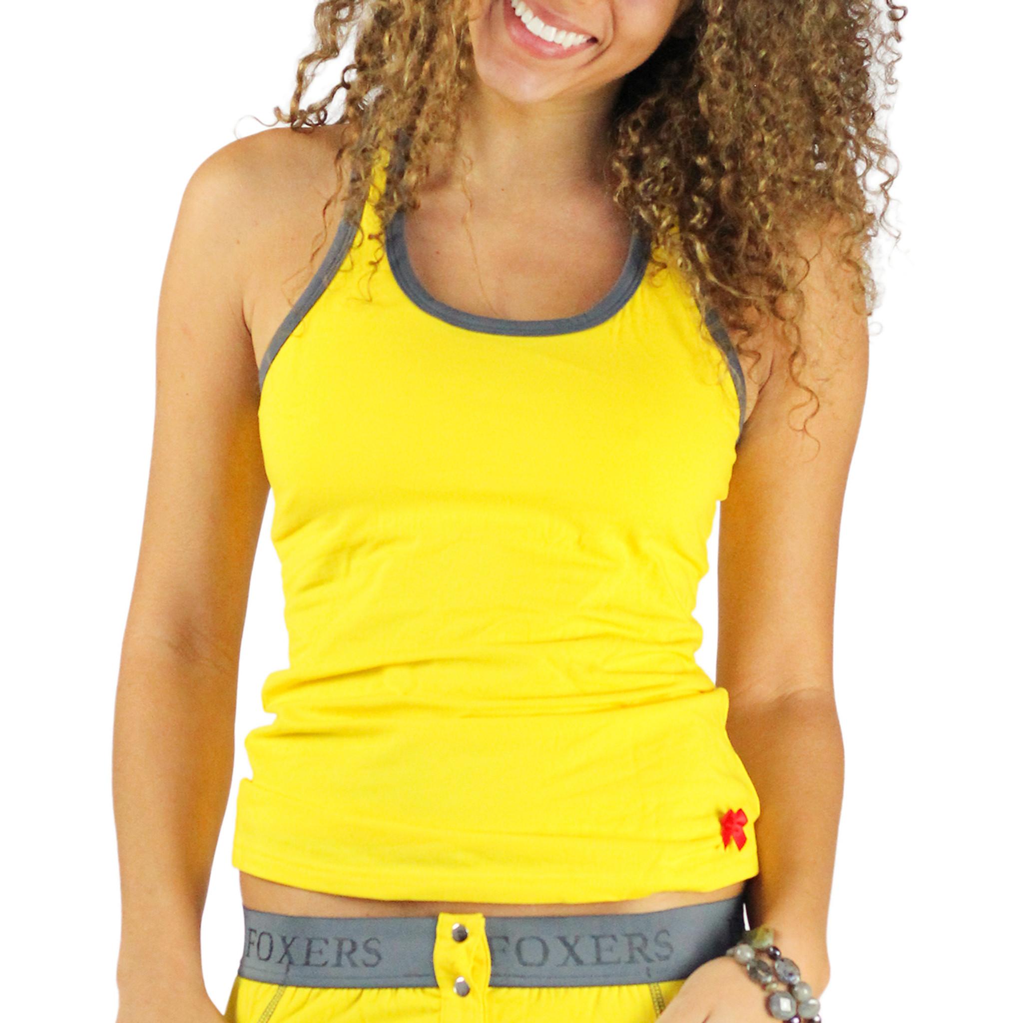 Sunshine yellow racerback tank with gray trim shelf bra for Racerback t shirt bra