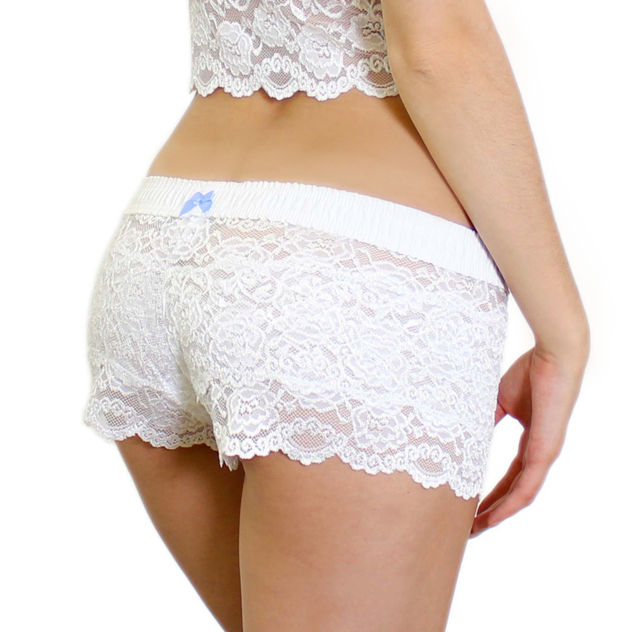 panties underwear knickers lingerie foxers white lace boxers white foxers band 4 stars