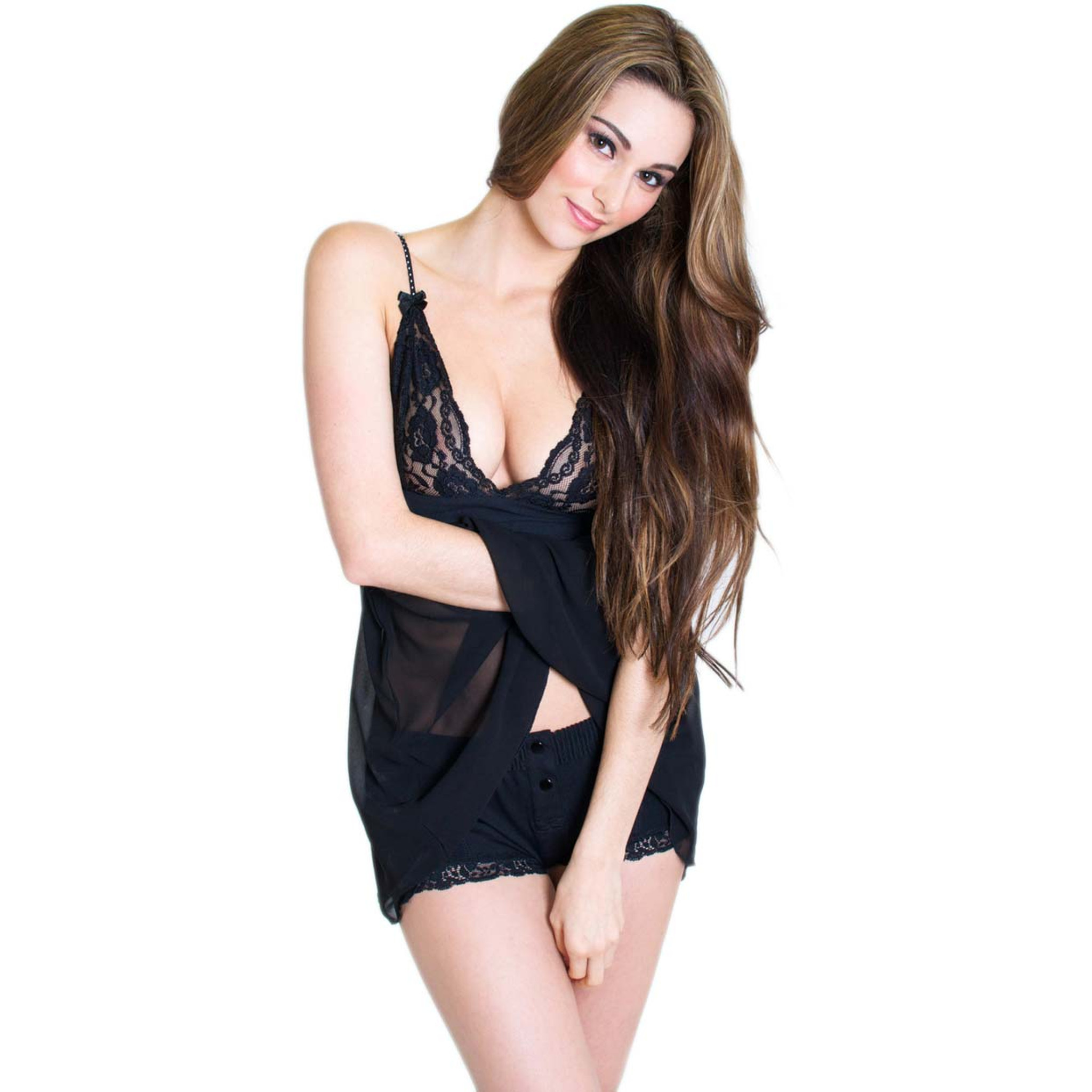 Black Lace Babydoll/Chemise Night Gown | FOXERS