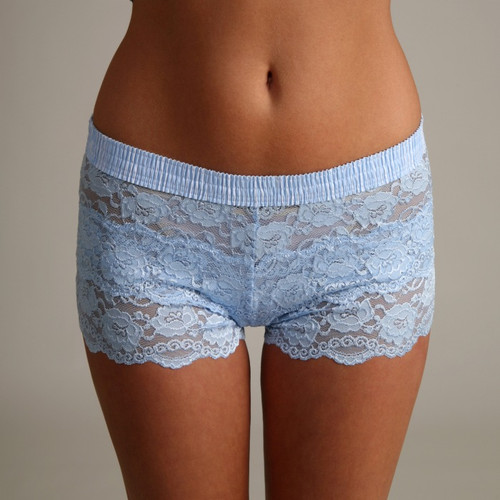Light Blue Polkadot over Light Blue Lace Boxers