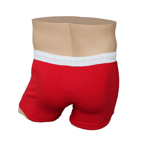 Men's White over Red Short Boxer Brief