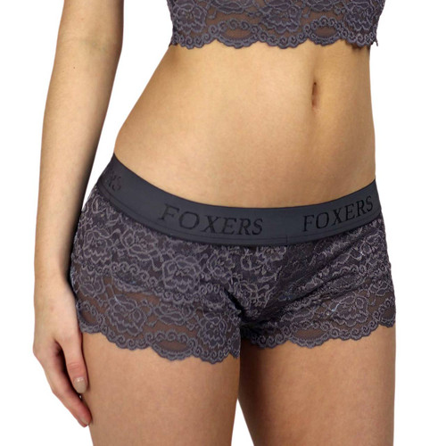 Charcoal Gray Lace Boxer with FOXERS Logo Elastic band