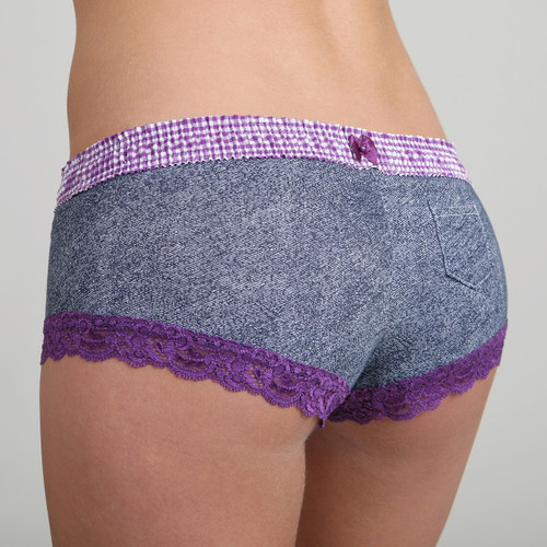 Purple Gingham over Denim print Boyshort