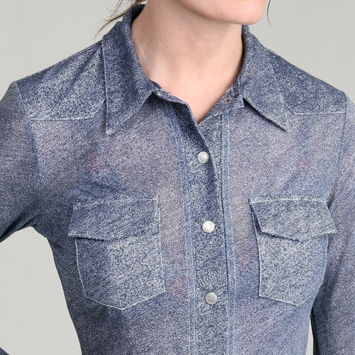 Denim Print Sheer Western Shirt (Half Sleeve)