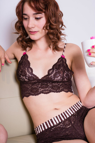 Brittani in Chocolate Lace Top and Lace Boxer - drinking coffee in her FOXERS underwear