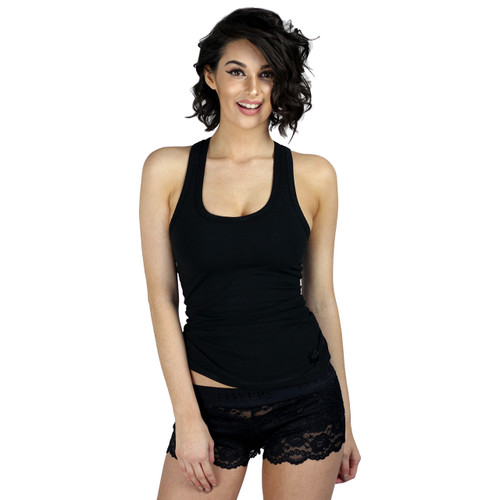 Women's Black Racer Back Tanktop with built in Shelf Bra.