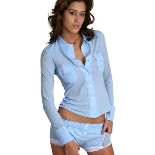 Light Blue Women's Boxer Brief sleep shorts pajamas