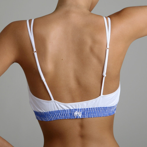 Blue and White Cotton Bra Top