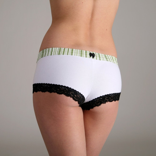 Lime Stripe over White Boyshort