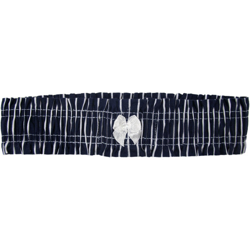 Navy Blue Striped Bridal Leg Garter