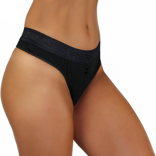 The FOXERS Black Thong can be worn highwaist or lowrise
