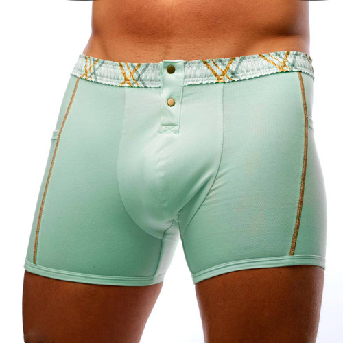 Men's Mint Boxer Brief with Mint Plaid FOXERS Waistband