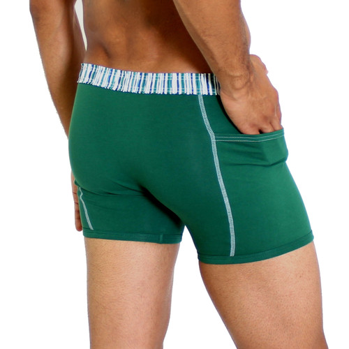 Alpine Green Boxer Underwear with Pockets