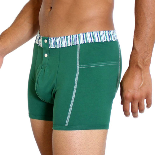 Men's Forest Green Boxer Brief with Alpine Stripe FOXERS Waistband