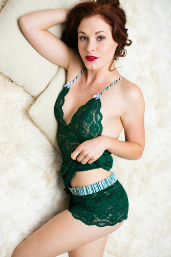 Forest Green Lace Negligee and Matching Lace Boxers