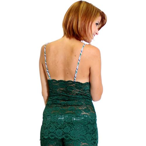 3 Row Lace Chemise | Dark Green