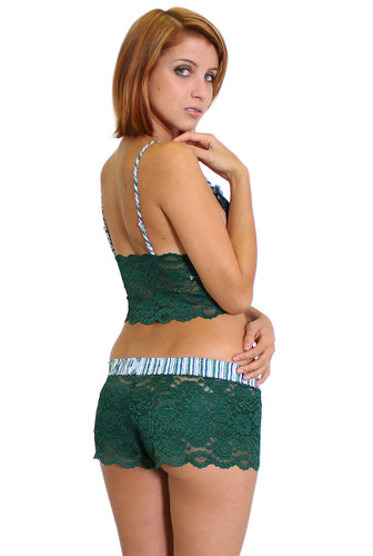 Green Lace Boxers with Matching Lace Crop Top