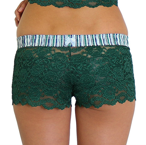 Forest Green Lace Boxers with Alpine Stripe FOXERS Band