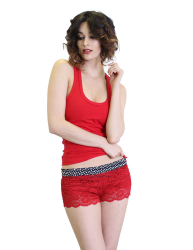 Red Lace Boxers and Red Racerback Tank Top
