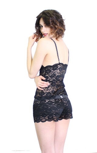 Black Lace Top with Pinstripe Straps (waist length)