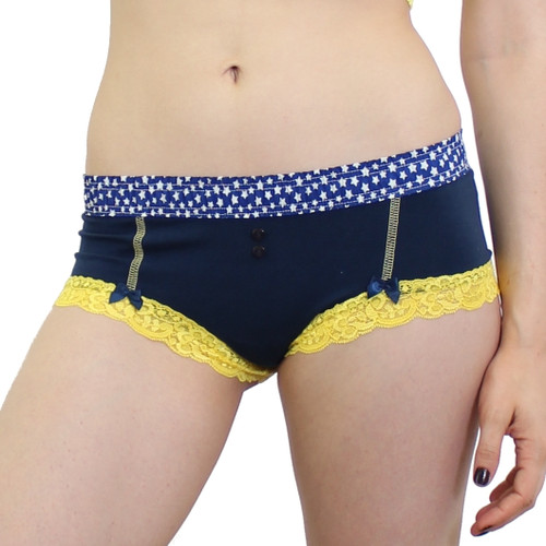 Navy Boyshort with Navy and White Star FOXERS Band