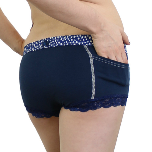 Navy Blue Girls Boxer Short Underwear with Stars and pockets