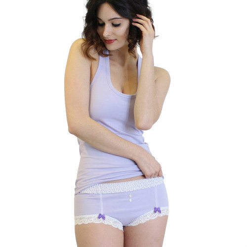 Lavender boyshorts and lavender tank top