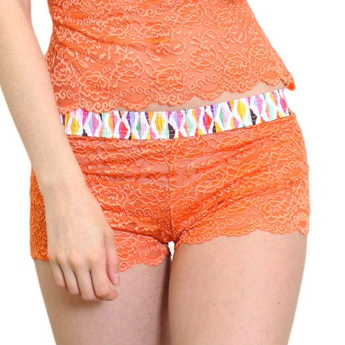 Sexy Orange Lace Boxers with Confetti FOXERS Waistband