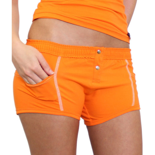 Womens Orange Boxer Brief with pockets