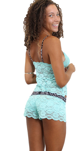 Waist Length Aqua lace camisole with  lace boxers
