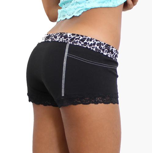 Animal Print Waistband Black Boxer Briefs