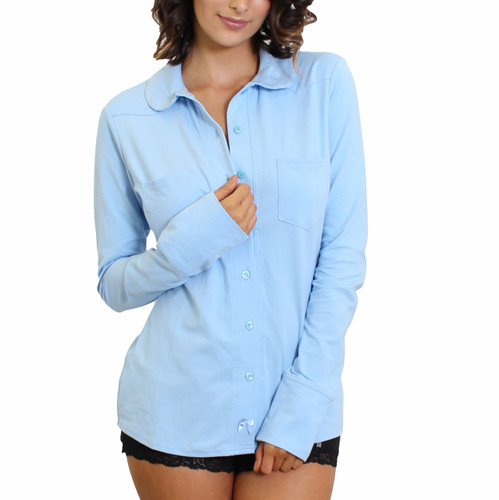 Princess Collar Light Blue Equestrian Top