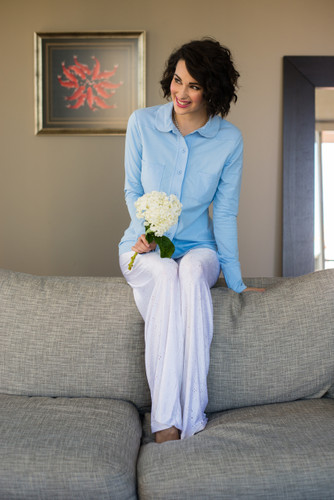 Light Blue Women's Button Down Shirt and Pallazo Pants