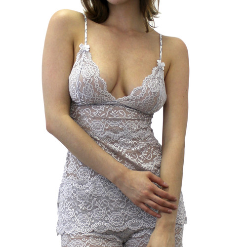 Semi Sheer Silver Lace Cami with Animal Print Straps