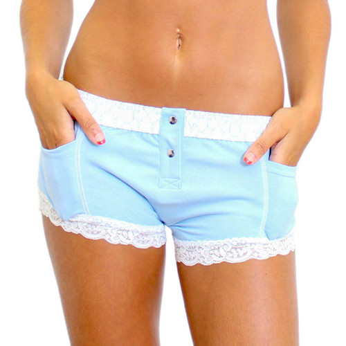 Light Blue Boxers for Women with Lace Leg Trim. Perfect for a Bridal Panty.