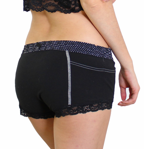 Womens Black Boxers with Pockets