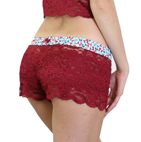 Red lace boxer short lingerie with foxes