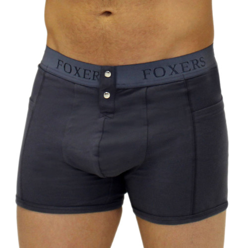 Grey men's boxer brief FOXERS logo elastic
