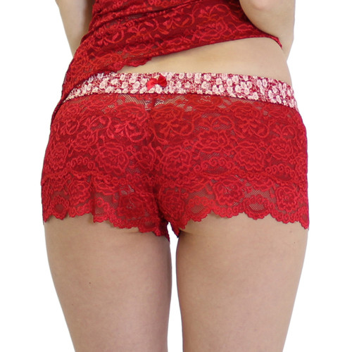 Red Lace Boxers with Floral Waistband