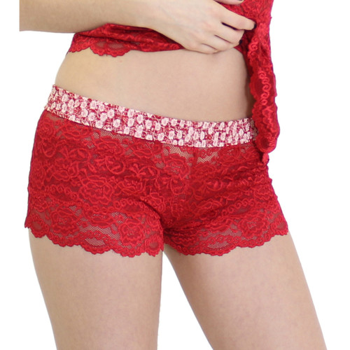 Women's Lace Boxers Red with Flowers