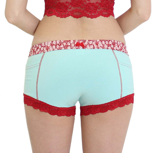 Aqua Boxer Brief for Ladies with Flower Power FOXERS Band