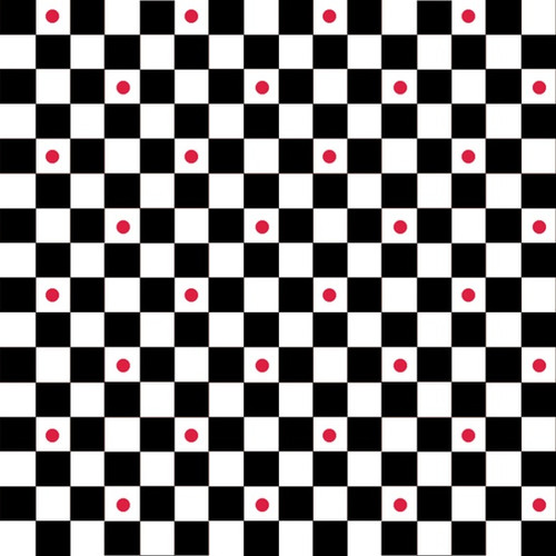 Checkers with Red Dots | Waistband Fabric Print