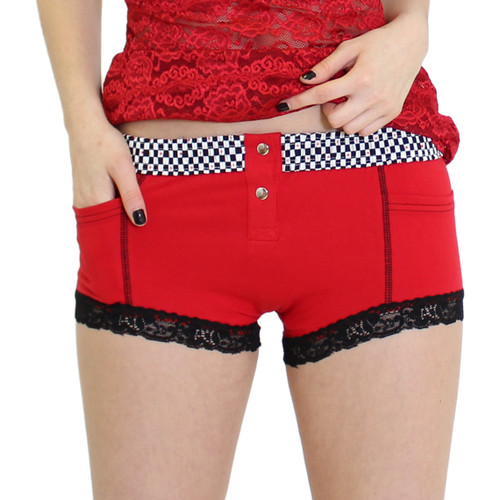 Red Hipster Boxer Briefs with Checkered FOXERS Band