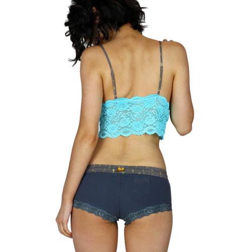 Sex Santorini Lingerie Set | Gray Boy Shorts and Turquoise Lace Bralette Top