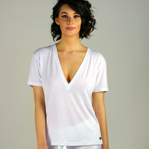 White Deep Vee Designer T-shirt by FOXERS