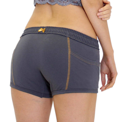 Tomboy Boxer Brief | Charcoal Grey w/ Gold Stitching