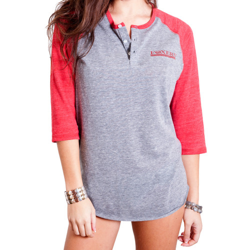 Raglan Sleeve Vintage Baseball Tee Shirt | Heather Grey/Red