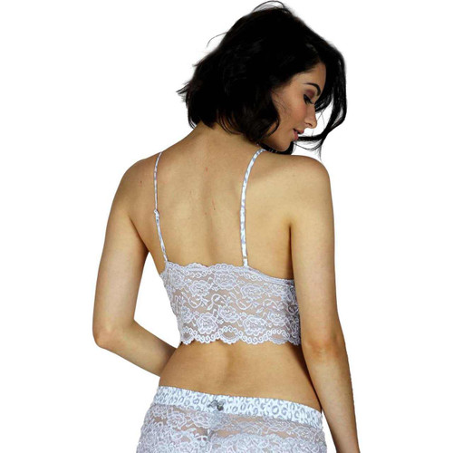 Lace Bralette Cami | Silver with Leopard Print Straps